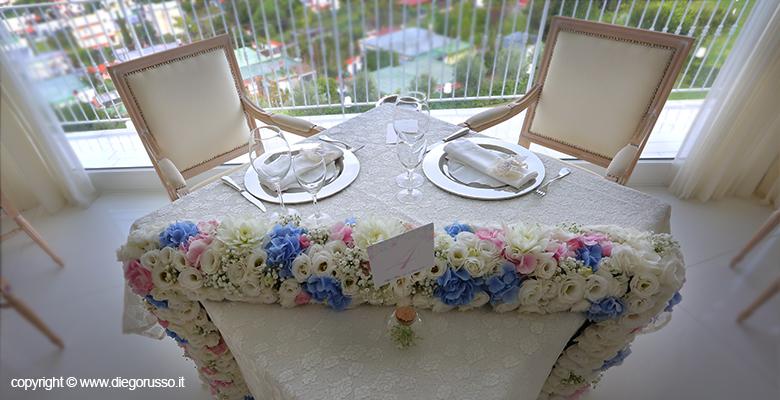 Addobbi tavolo sposi