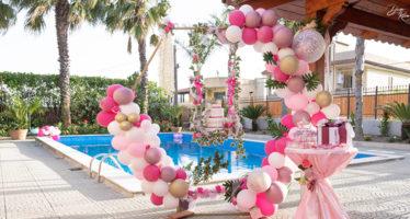 Allestimenti festa in piscina per prima comunione